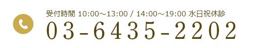 受付時間 10:00~13:00 / 14:00~19:00 水日祝休診 03-6435-2202